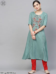 Blue Embroidered A-Line Kurta
