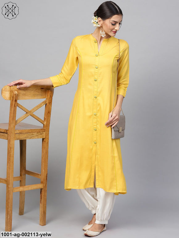 Yellow Solid A-Line Kurta With Embroidered Button