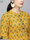 Mustard & Green Floral Printed Long Kurta