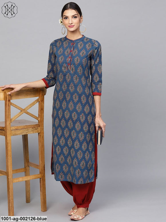Blue Kantha Work Printed Straight Kurta
