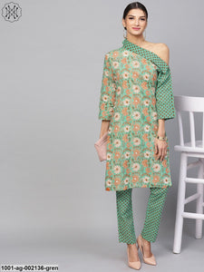 Pastel Green Floral Printed One Shoulder Kurta