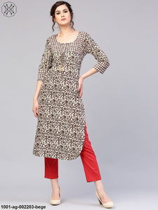 Beige & Brown Straight Kurta