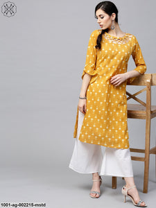 Mustard Printed Straight Kurta With Bell Sleeve