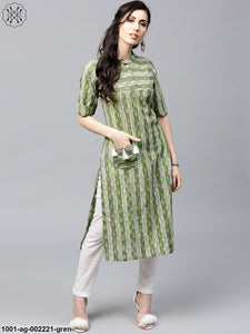 Green & Grey Printed Straight Kurta With Pocket Details