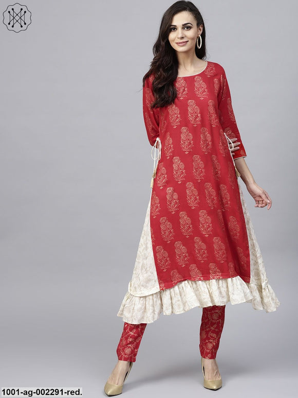 Red & White Gold Printed A-Line Kurta With Frill Hemline