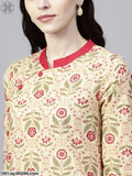 Cream & Red Printed Straight Kurta