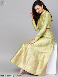 Green & Gold Brocade Design Lehenga With Choli