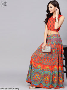 Orange Printed Lehenga With Choli