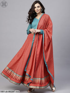 Red & Blue Gold Printed Lehenga & Blouse With Dupatta