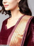 Multicolored Gold Printed Lehenga With Maroon Velvet Choli & Dupatta
