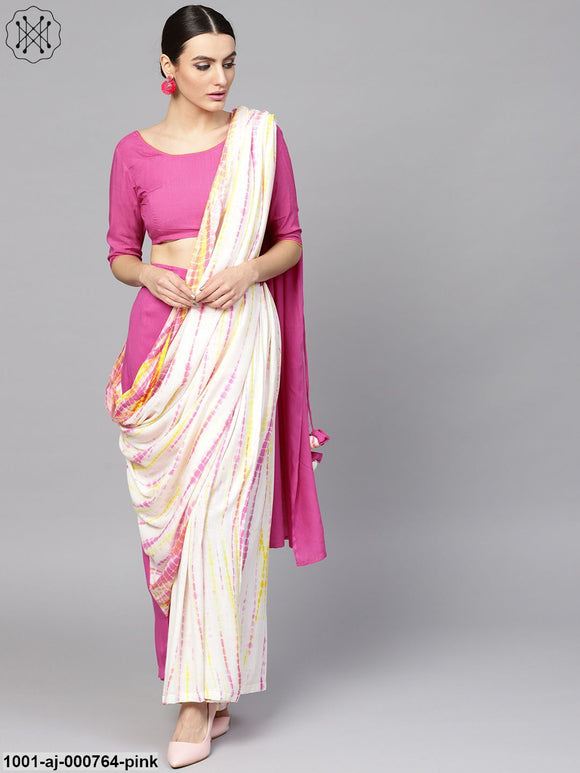 Pink & White Shibori Printed Palazzo Saree With Blouse