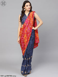 Navy Blue Gold Printed Saree With Blouse