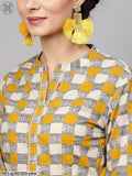 Yellow & Grey Printed Saree With Blouse