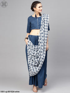 White & Blue Printed Saree With Blouse
