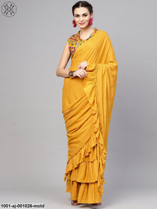 Mustard Solid Saree With Printed Blouse