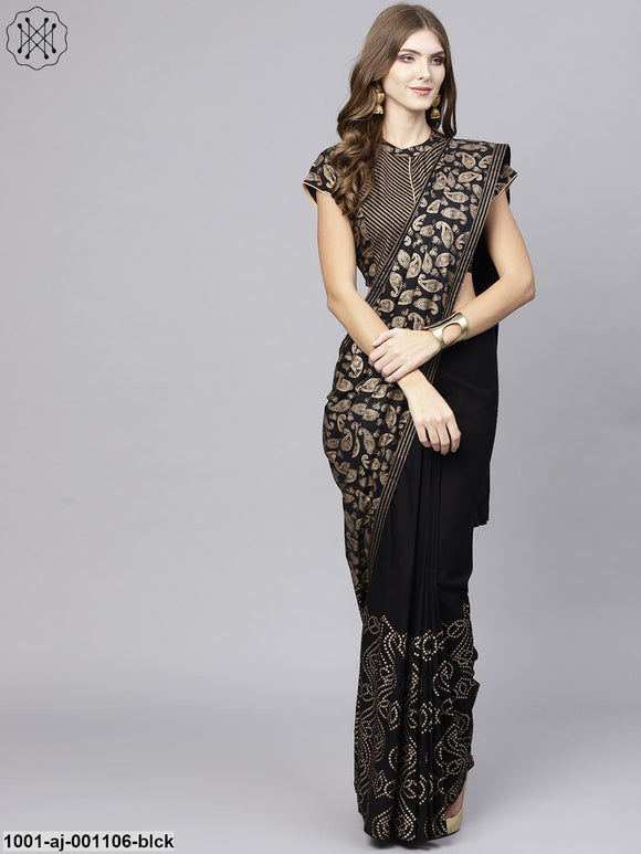 Black Gold Printed Saree With Blouse