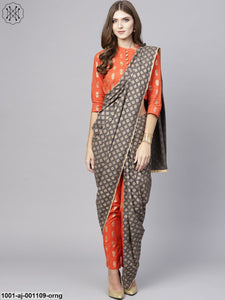 Orange Gold Printed Pant Saree With Blouse