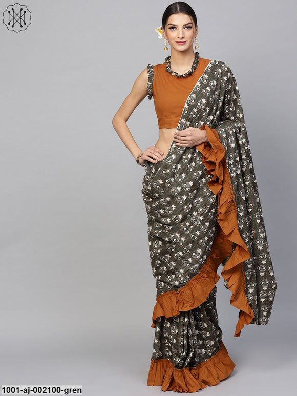 Green Printed Saree With Stitched Blouse