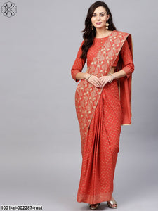 Rust Gold Printed Saree With Blouse