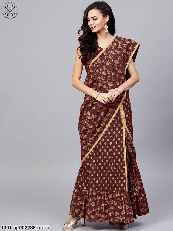 Maroon Gold Printed Lehenga Design Saree With Blouse