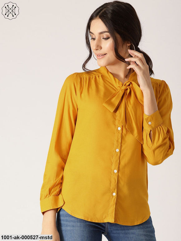 Yellow Solid Shirt With Tie-Up Neck