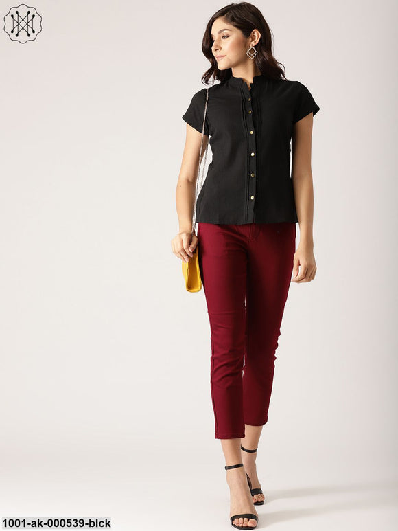 Black Shirt With Sliver Button Details