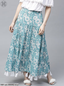Sky Blue Floral Printed Tiered Skirt