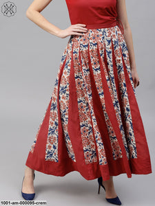 Cream & Maroon Floral Printed Flared Skirt
