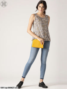 Olive Printed Reversible Sleeveless Top