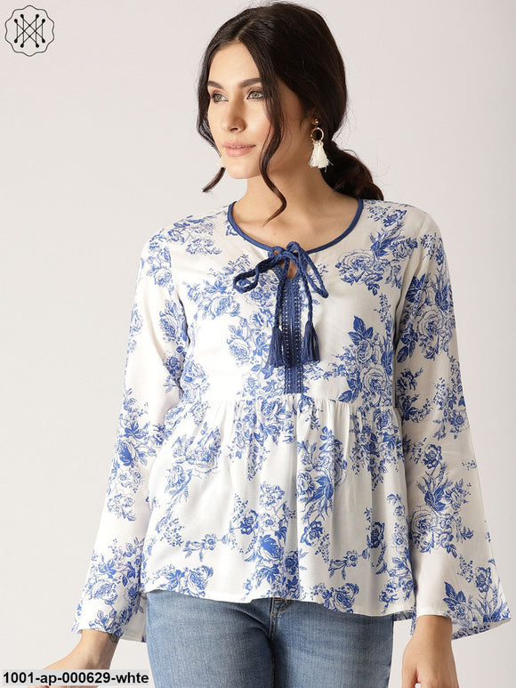 White & Blue Floral Printed Gathered Top