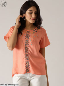 Peach Rayon Slub Embroidered Top
