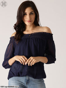 Navy Blue Polka Dot Printed Off Shoulder Top