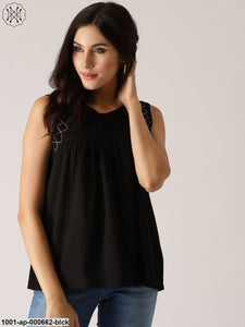 Black Solid Pleated Sleeveless Top