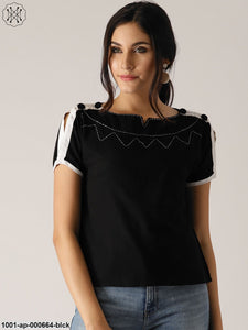 Black Solid Top With Threads Work Details