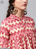 Pink & Cream Chevron Printed Pleated Tunic