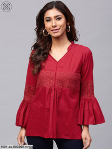 Maroon Solid Flared Sleeve Tunic With Schiffli