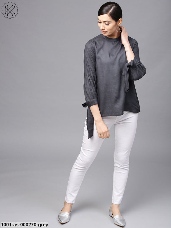 Grey Solid Tunic With Tie-Up Sleeve Details