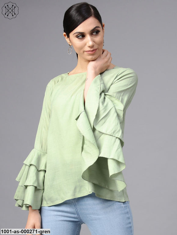Pista Green Solid Tunic With Flared Sleeve