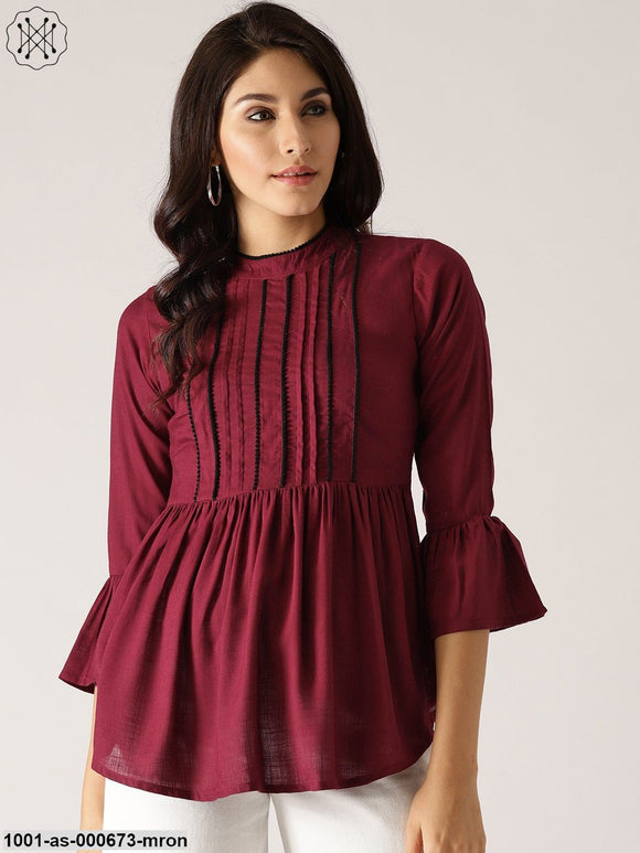 Maroon Solid Pleated Tunic With Lace Details