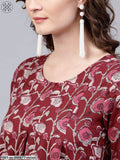 Maroon Floral Printed Pleated Tunic