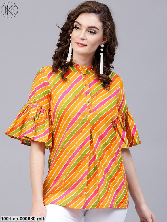 Multicolour Leheriya Printed Tunic