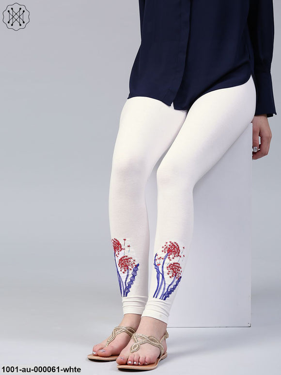 White Embroidered Legging