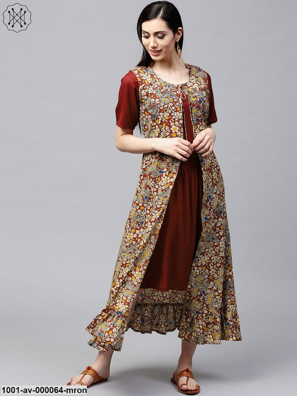 Maroon Kalamkari Printed Jacket With Pleated Hemline