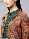 Orange Bohemian Printed Long Jacket