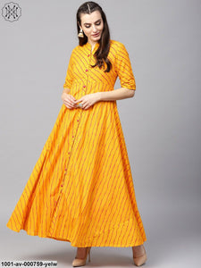 Yellow & Orange Leheriya Printed Long Jacket