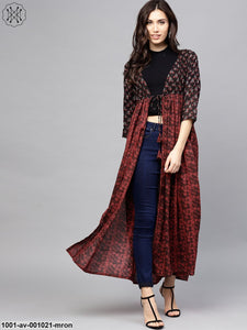Maroon & Black Printed Long Jacket