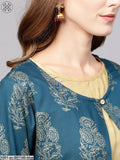 Blue Gold Printed Long Jacket