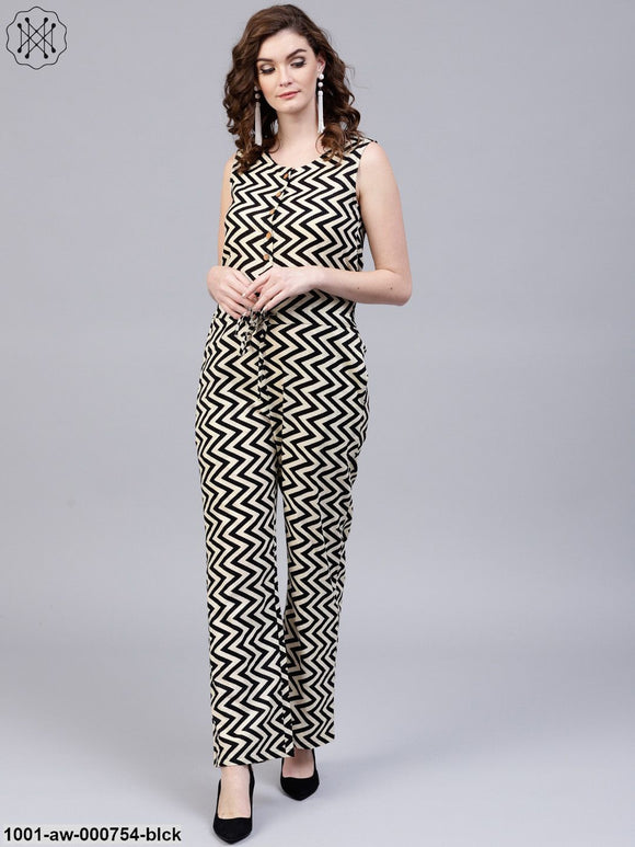 Black & White Striped Sleeveless Jumpsuit