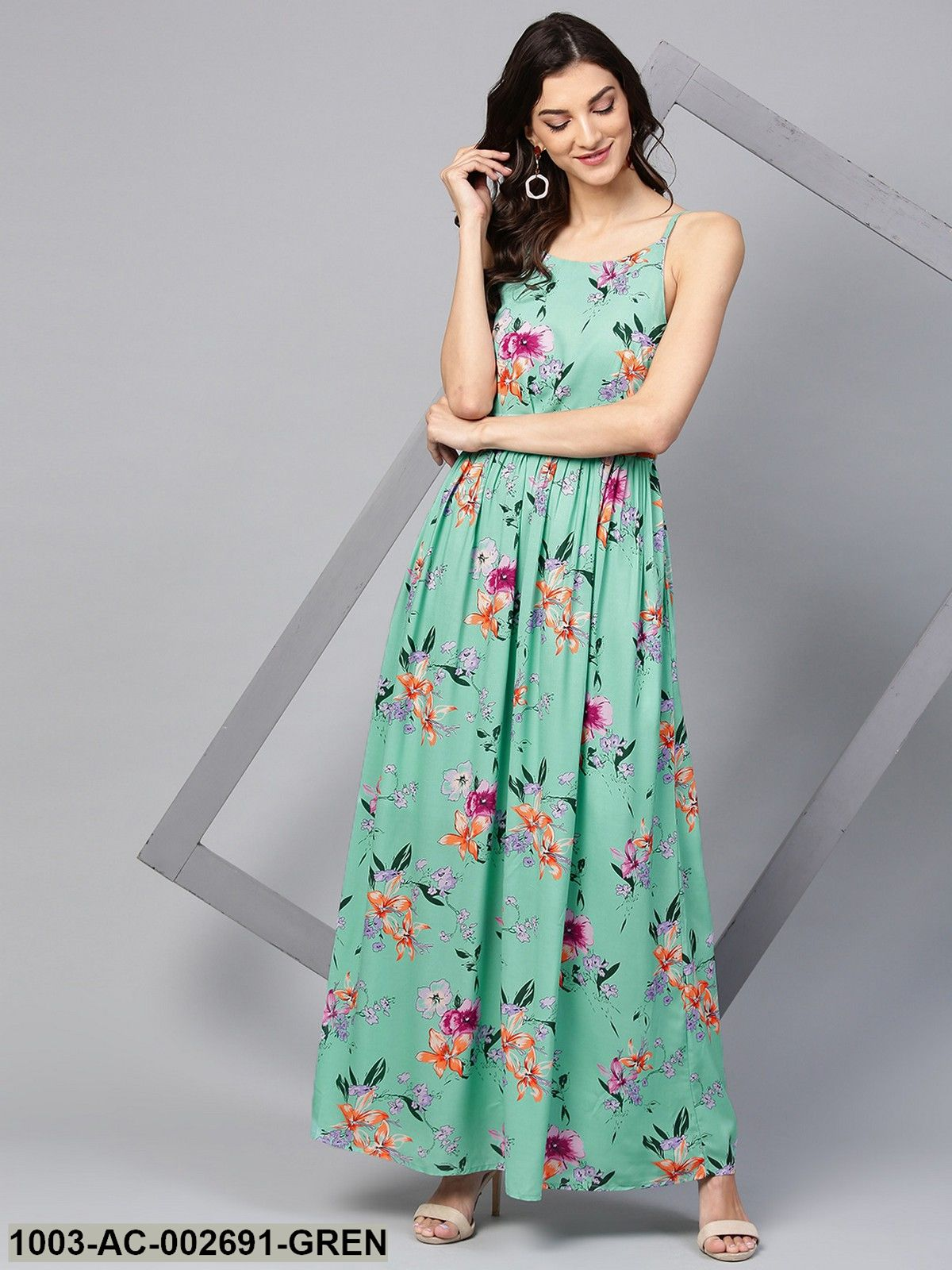 b8559ccf913 Women s Green Floral Strappy Maxi Dress – Trendphoria