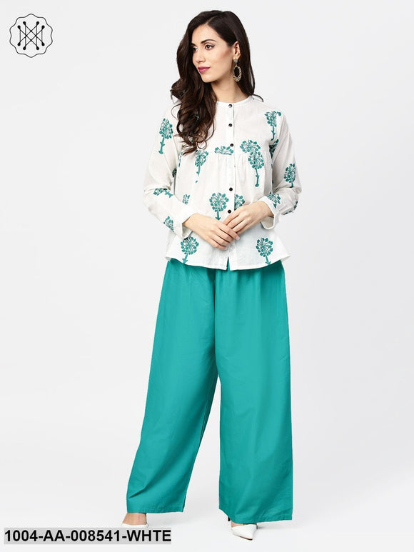 White Printed 3/4Th Sleeve Cotton Tops With Green Palazzo Set